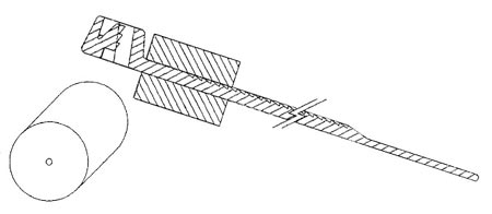 A sketch of a cable tie with a floatation device attached