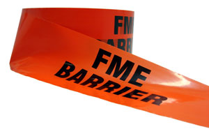 A roll of tape resembling the kind used around crime scenes except orange and with the text FME Barrier