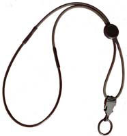 A black neck lanyard with dual breakaways and a single rubber connection ring