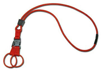 An orange neck lanyard with one breakaway and two connection rings of equal length