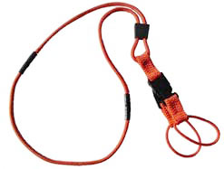 A neck lanyard with two breakaways and two connection loops of equal length