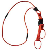 An orange neck lanyard with two breakaways and offset connection rings