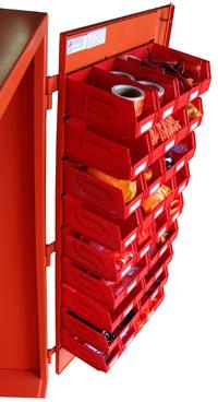 A view of an orange FME cabinet door