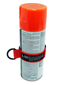A can of orange paint is secured with an orange can strap lanyard