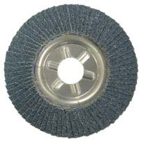 A view of the bottom of a tiered flap disc resembling stacked pieces of sandpaper
