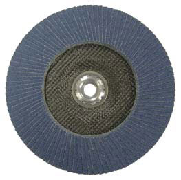 A view of the bottom of a trimmable flap disc resembling stacked pieces of sandpaper