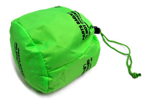 A small parts bag full of items with a cord lock and string style closure