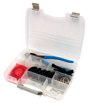 A plastic case with tools and equipment for crimping lanyards to tools