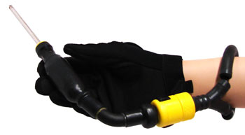 A black tubing lanyard wrapped around a wrist connected to a tool held by a gloved hand