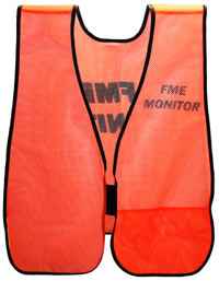 The front of an orange vest printed with the text FME Monitor