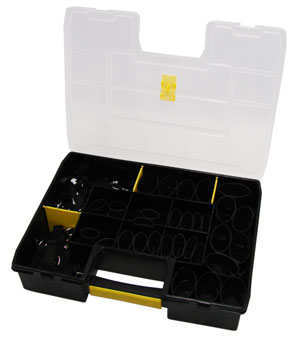 A black case full of shrink rings and equipment to create lanyard attachment points