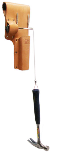 A hammer is falling out of a tool pouch but it is held in place by a built in retractor