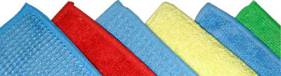A tiered group of soft-looking towels of various colors