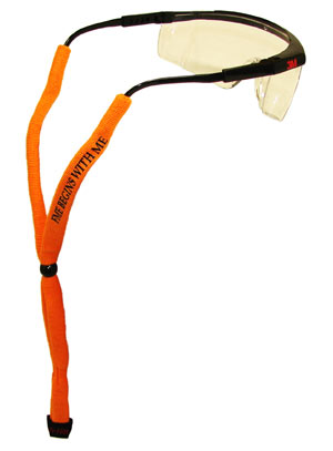 An orange tether attached to a pair of safety glasses