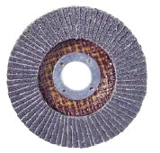 A view of the bottom of a zirconia alumina flap disc resembling a wheel of sandpaper