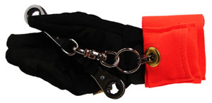 An orange wrist cuff with retractor unit is attached to a tool being held by a gloved hand
