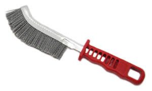 A red handle with a metal knife like shaft with nylon abrasive bristles coming out of the shaft