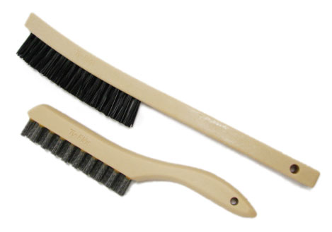 Two plastic head brushes with non-metal abrasive filiments