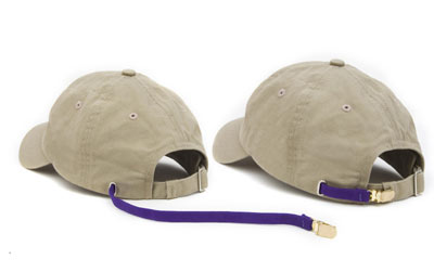 A tethered hat with tether at full extension next to a hat with tether retracted