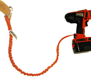 A bungee lanyard is attached from a belt to a tool
