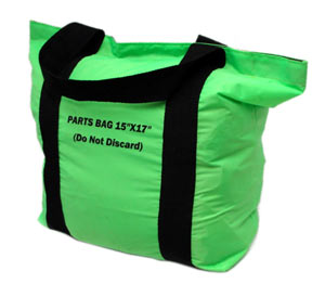A stufffed green bag with a full seal on the top via a velcro style closure