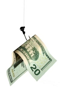 A twenty dollar bill being pulled up by a fish hook