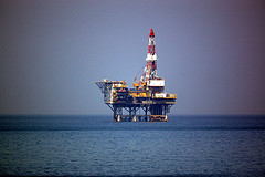 an offshore oil rig with a large tower